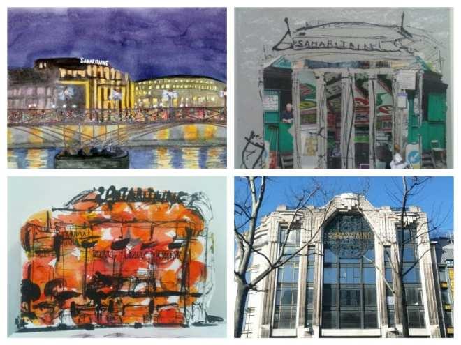 En haut à gauche, Eve Mas, collage, aquarelle et photo Chrismali