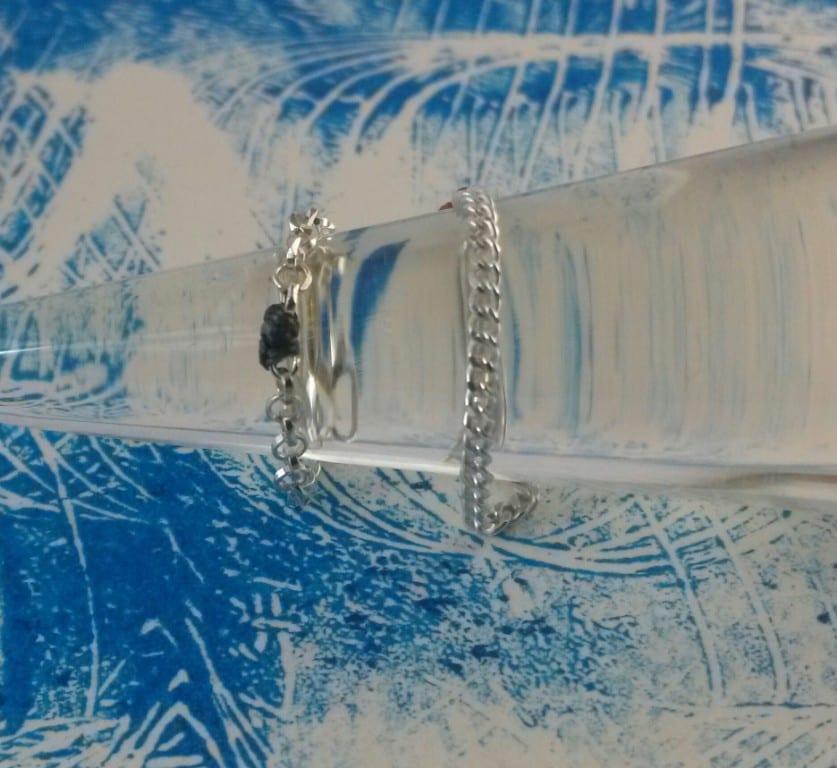Bague chaine argent maille gourmette ou forçat  perle de fil devant ou derrière