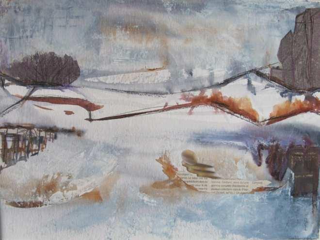 Pont du chemin de fer l'hiver aquarelle collage acrylique 50 40