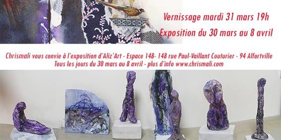 Exposition sculptures et peintures avec l'association Aliz'Art du 30 mars au 8 avril, vernissage le mardi 31 mars