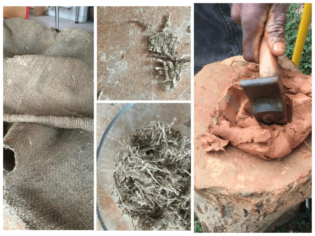 Etape 2 - préparation de la terre argile et fibre de toile de jute pour les moules