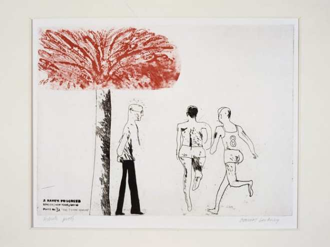 """""""THE SEVEN STONE WEAKLING"""" 1961/63 FROM A RAKE'S PROGRESS. ETCHING IN TWO COLORS AND AQUATINI, ED: 50 12 X 16"""" © DAVID HOCKNEY PHOTO: STEVE OLIVER"""