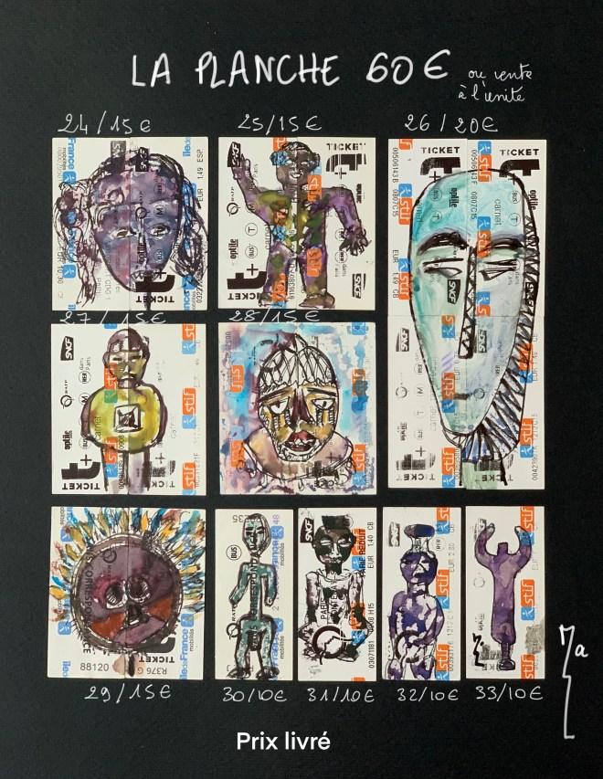 Planche 4 - Miniatures tickets de métro 24 à 33