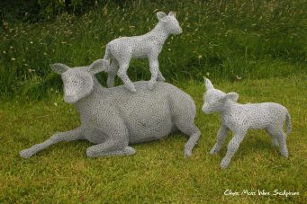 Ewe + Lambs Doddington Hall by chris moss wire sculptor in yorkshire