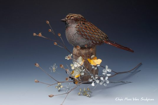 Flower Sparrow by chris moss wire sculptor in yorkshire