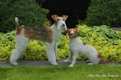 Two Terriers by chris moss wire sculptor in yorkshire