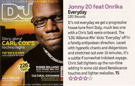 DJ Mag review of Jonny 20 - Everyday (Chris Salt Remix)
