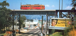 Historical image of LA's Red Car on the Fletcher Street Bridge.