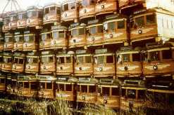 A stack of abandoned Red Cars (Image courtesy of the Orange Empire Railway Museum website).