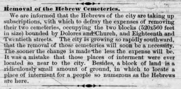 """""""Removal of the Hebrew Cemeteries,"""" Real Estate Circular, October 1869. From the Internet Archive."""
