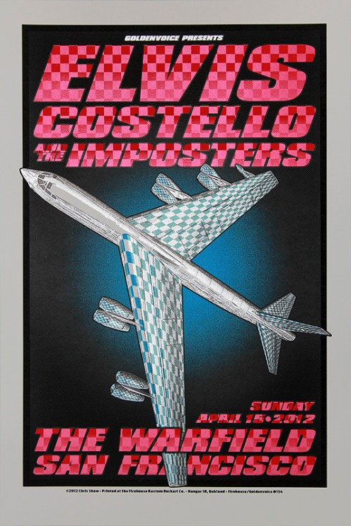 Elvis Costello at The Warfield, silkscreen poster by Chris Shaw