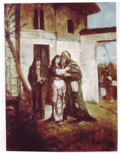 Maurycy Gottlieb - Recha begrüßt ihren Vater Nathan. Quelle: Wikipedia (gemeinfrei)