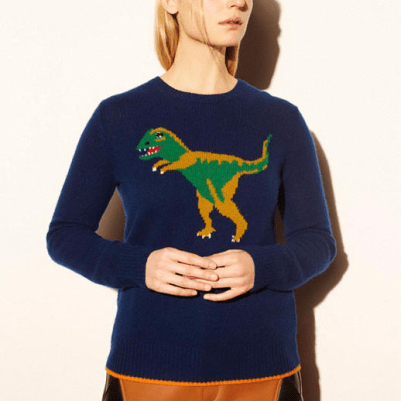 selena gomez dinosaur sweater by coach