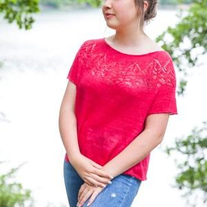 Valentine, top en soie rouge, vue de devant
