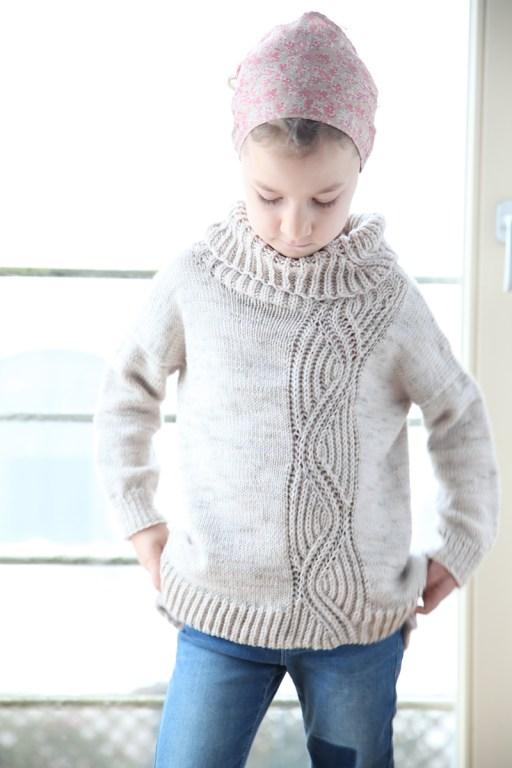 Torvi, brioche and stockinette sweater for kids