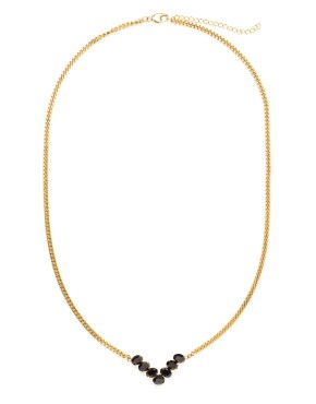 Bianca : Necklace combining chains and chevron gilded with fine gold