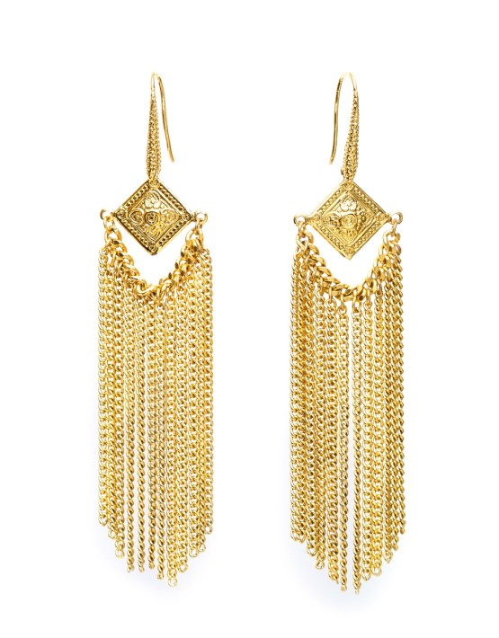 Gloria : Earring multi-chains gilded with fine gold