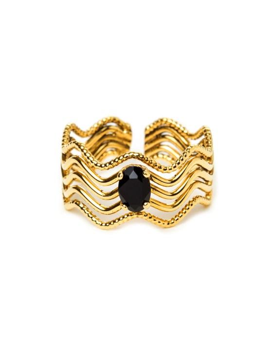 Bague doré à l'or fin serti d'une pierre noir Swarosvski Livie