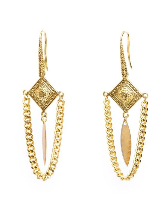 Boucles d'oreilles chaine et plume doré à l'or Cordélia