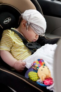 baby sleeping in car seat