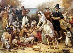 Artist's depiction of the first Thanksgiving. Courtesy of Films for Christ.