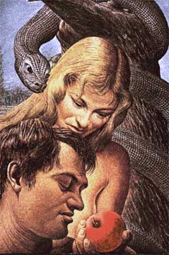 Adam and Eve eat the forbidden fruit