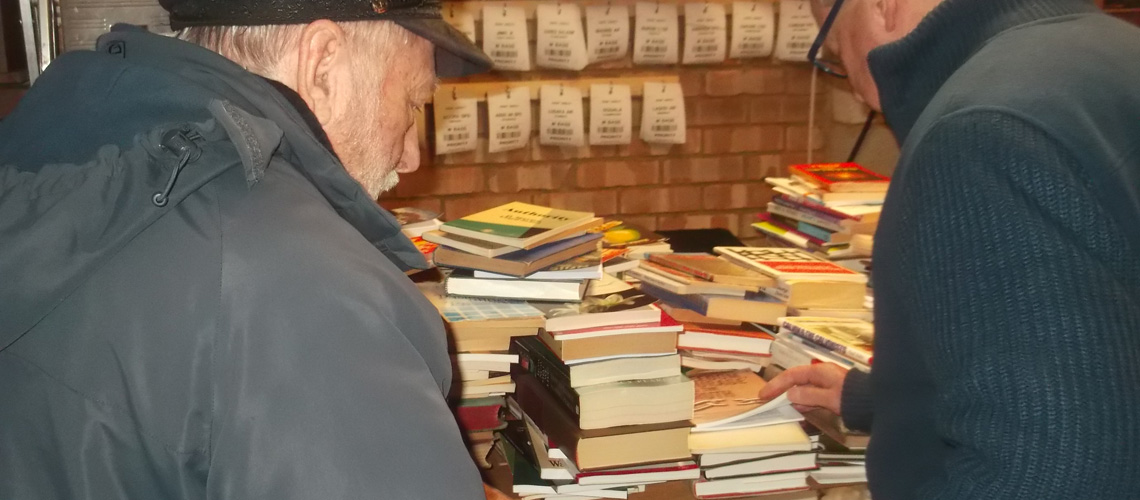 books being sorted
