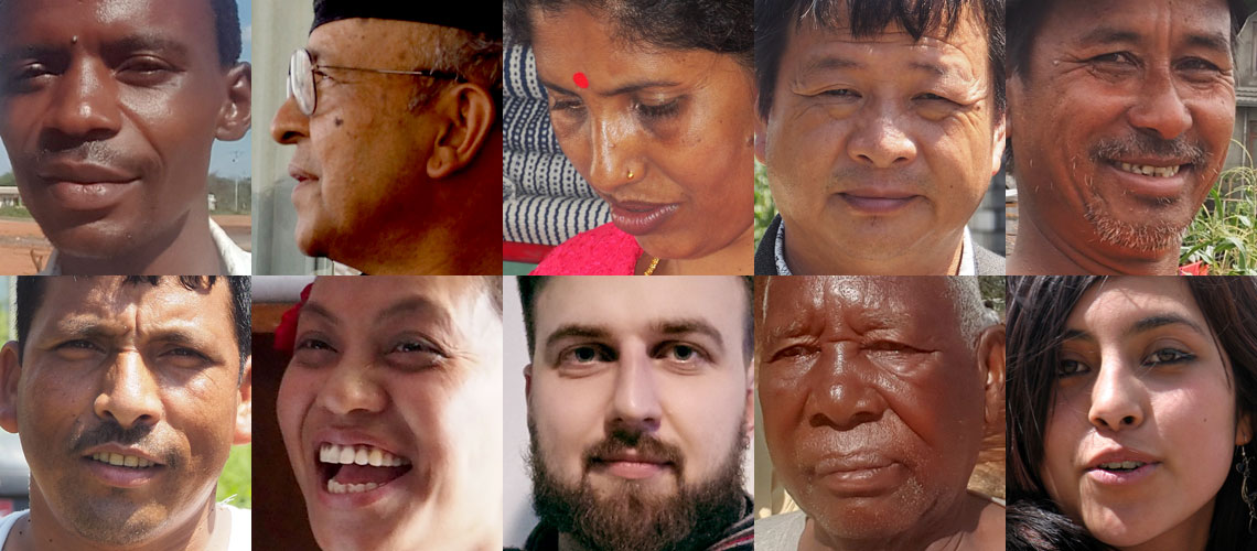 Faces from many ethnic groups