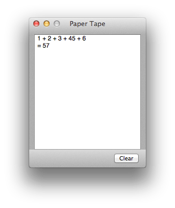 Calculator's Paper Tape window
