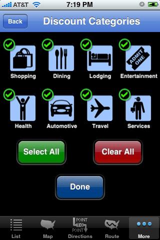 iPhone app AAA discounts categories