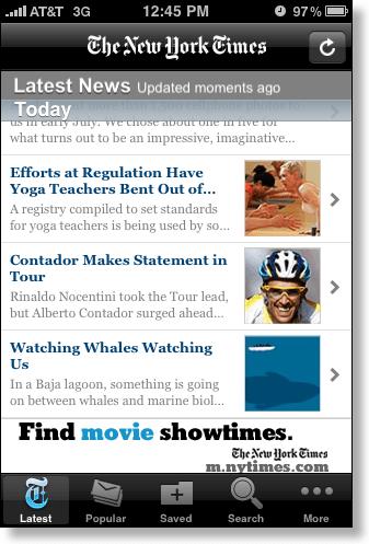 iPhone New York Times headlines