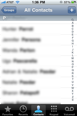 iPhone contact list