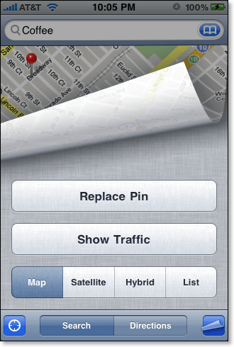 iPhone Map page curl options