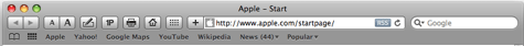 safari's customized toolbar