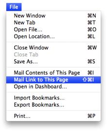 Safari File menu