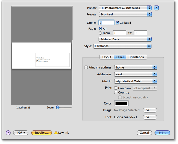 Single click envelope printing mac and iphone answers apples address book can do it but its complicated and you dont have a lot of artistic control heres the print dialog that address book makes you wade solutioingenieria Images
