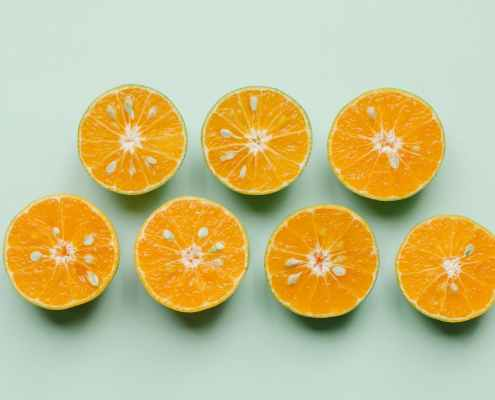 composition of sliced bright tropical fruits
