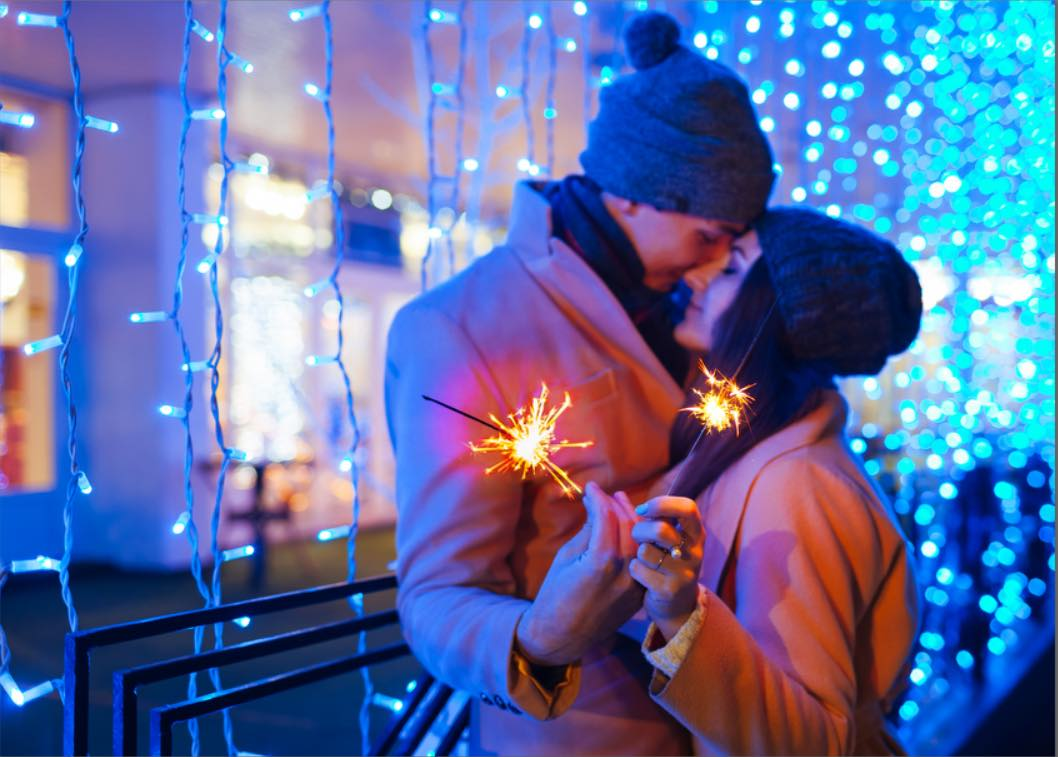 Couple at new year with sparklers