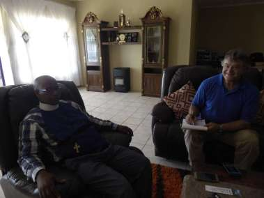 Pastor Bill interviewing Rev. Njobe