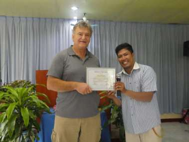 Pastor Ian presents us with a thank you plaque