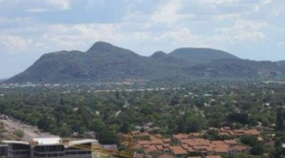 Kgale Hill Mountain from City while sitting in cafe