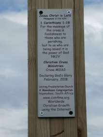 Plaque Declaring God's Glory over the mountains, valleys and the Kei River
