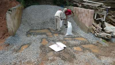 Bagging Crushed Rock for 3-2-1 Concrete Mix