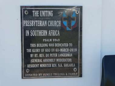 New Church Dedication Plaque March 3 2019