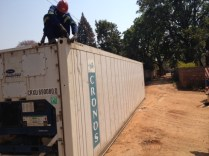 Shipping container arrives in Africa