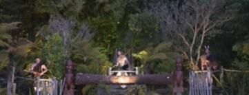 Maori drummers at a Maori Hangi - night time