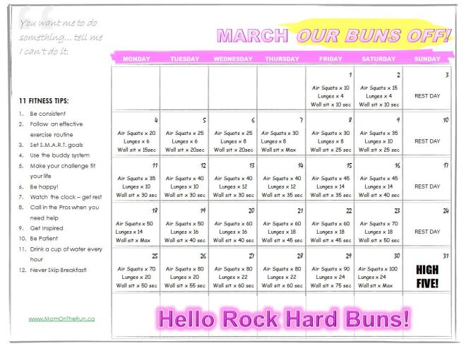 March Our Buns Off Calendar