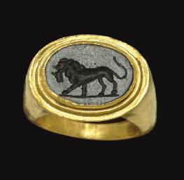 A Roman Gold And Green Jasper Finger Ring Circa 2nd