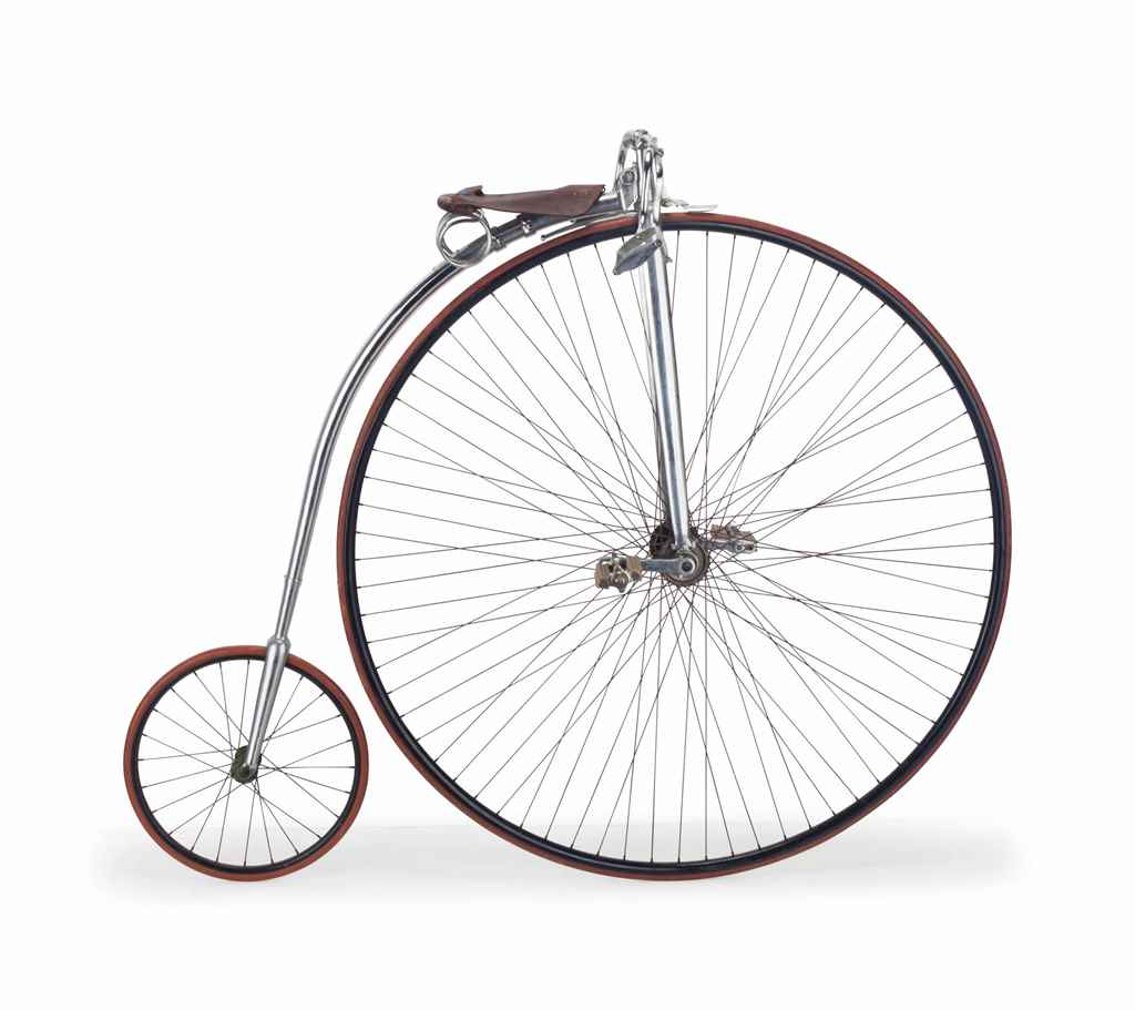 A Metal And Leather High Wheel Bicycle 20th Century