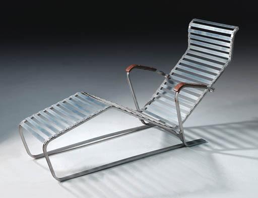 an aluminium chaise longue